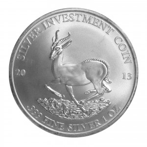Hologram version 2013 GABON AFRICAN SPRINGBOK 1 oz .999 Silver Coin in Capsule